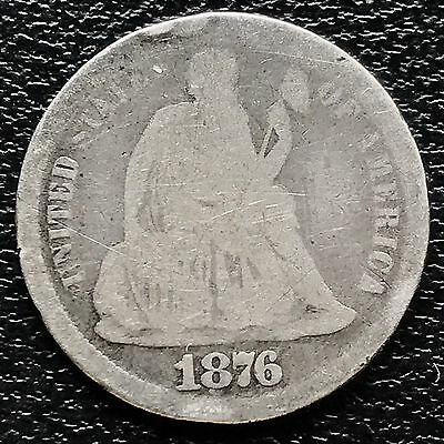 1876 CC Seated Liberty Dime 10c nice coin Rare Carson City #6007