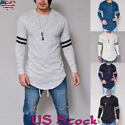 US New Mens Longline Casual Long Sleeve Shirts Blouse Slim Fit Tee Tops T-Shirt