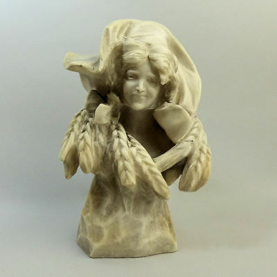 ANTIQUE ITALIAN CARVED ALABASTER BUST P. PECCARELLY 19th CENTURY