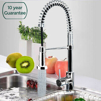 360° Swivel Spout Kitchen Sink Mixer Taps Black With Pull Out Bidet Spray Tap UK