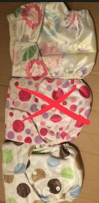 2x Reusable Bamboo Real Nappy. Baby Washable Cloth Diaper With Boosters