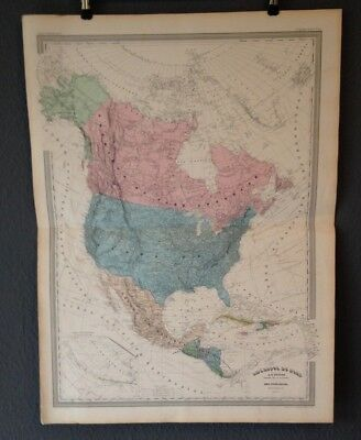 "Stahlstich-Karte""Amerique Nord"".Nord+Mittel Amerika,Mexiko,Dyonett,Dufour1856-58"