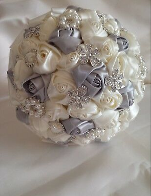 Bridal Brooch Wedding Bouquet Ivory + Black, Silver Satin roses diamante detail