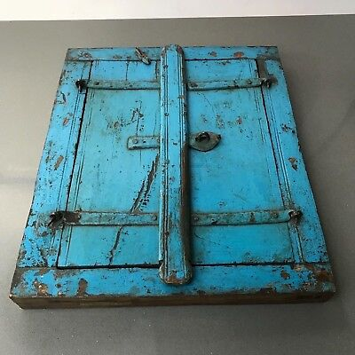Antique/ Vintage Indian Reclaimed Shuttered Window Mirror. Distressed Turquoise.