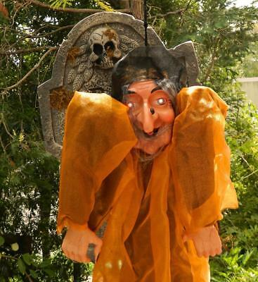 VINTAGE Halloween Screaming Lighted Wicked Witch Scary Hanging Decor