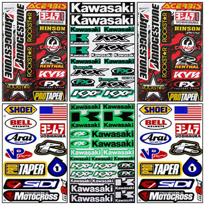 Kawasaki Dirt Bike Motocross Decal Sticker Kit Set 6 Sheets KM-602