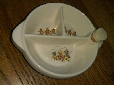 vintage Excello brand ceramic sectioned childrens dish ware bowl The Three Bears