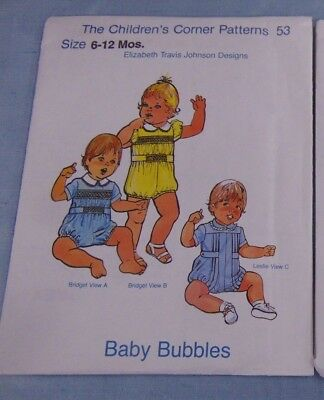 The Children's Corner Pattern Baby Bubbles Sz 6-12 mos Elizabeth Travis Johnson
