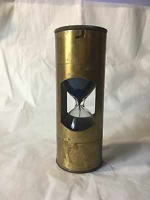 "Hourglass Navigare Necesse est. Brass 3 Min. Timer Blue Sand 5 3/8"" Tall Vintage"