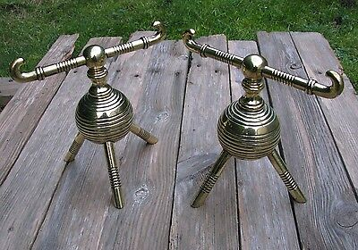 Antique Pair of Christopher Dresser Aesthetic Andirons / Firedogs / Brass