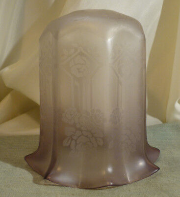 """Antique Edwardian Frosted Glass Lampshade Lilac Pink Crinoline  Floral 5.5"""""""