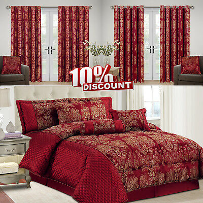 7 Piece Sandra Burgundy Jacquard Comforter Bedding Set With Matching Curtains