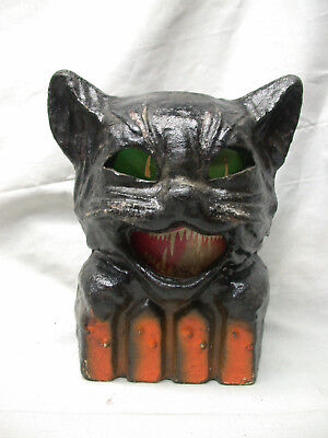 Vintage Paper Mache Cat On Fence  Nice!