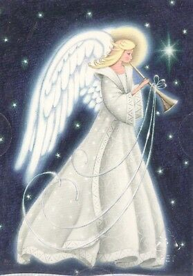 18 ct CHRISTMAS CARDS & ENVELOPES STARS & ANGEL W/ WINGS BLOWING HORN NEW IN BOX