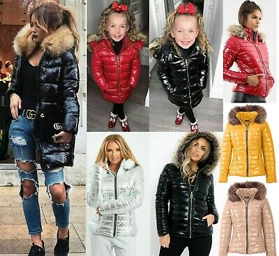 Women Girls Kids Wet Look Puffer Bubble Coat Winter Shiny Pu Fur Hooded Jacket