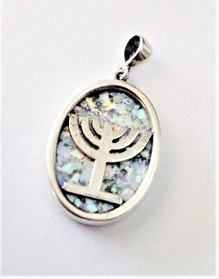 Sterling Silver Menorah necklace with Ancient Roman Glass.Israeli Jewelry