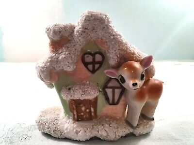 Vintage Christmas Cottage W/ Deer / Fawn Coleslaw Applied Snow Vase / Planter Wo
