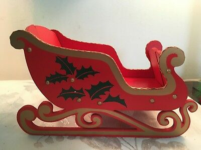 Vintage Christmas Sleigh Holds Christmas Cards / Ornaments Folds Up Made In Japa