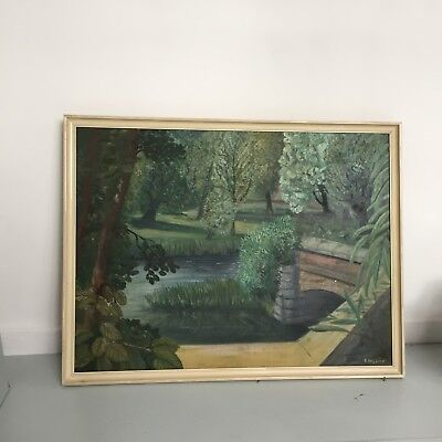 Large Signed Abstract Oil On Board | Mid Century Vintage Painting Green Scenery