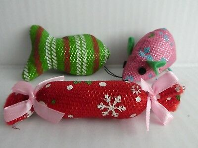 Cat Kitten Toy Christmas Toys, with Catnip, Mice, Fish & Crackers Pack of 3