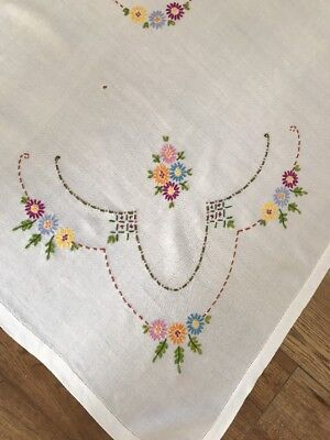 Vintage Hand Embroidered Table Cloth Pretty FLORALs Linen Shine Rayon