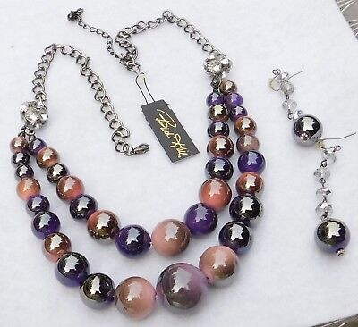 Demi Multi 2 Strand Necklace & Pair Earrings Birch Hill Tag Beads Purple Coral C