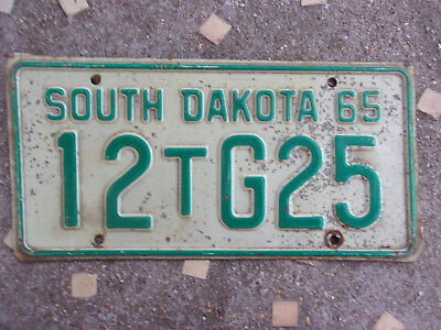Vintage 1965 South Dakota License Plate Sign Tag As Is