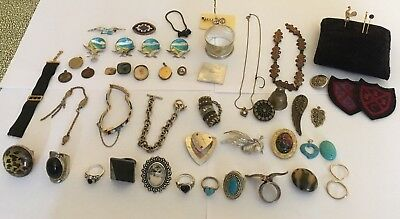 Job Lot Of Antique & Modern Jewellery Curios Inc Seal Fob,rings,watch Chain Etc
