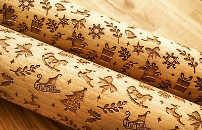 Embossing CHRISTMAS 2 rolling pin wooden engraved unique design