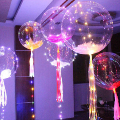 Clear Luminous LED Helium Balloons Round Bubble String Lights Party Decoration