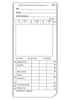 Max Clocking in Cards - Weekly Max Clock Cards (86mm x 186mm). TC-Max.