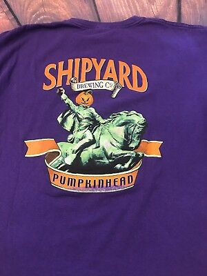 THE SHIPYARD BREWING CO - Portland, Maine PUMPKINHEAD ALE (XL) T-Shirt Halloween