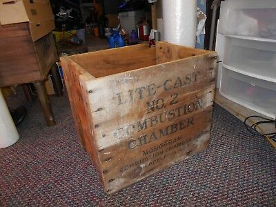 Vintage Industrial Large Wood Crate , Combustion Chamber Co. Phil. Pa.-  RUSTIC