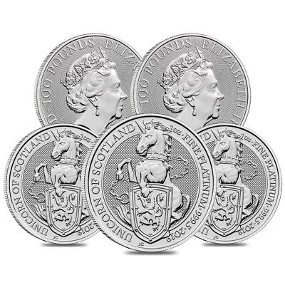 Lot of 5 - 2019 Great Britain 1 oz Platinum Queen's Beasts (Unicorn of Scotland)