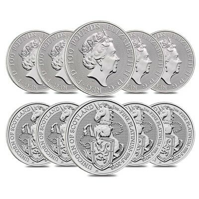 Roll of 10 - 2019 Great Britain 1 oz Platinum Queen's Beasts Unicorn of Scotland