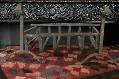 Antique Wrought Iron Dog Grate Basket Georgian 18th Century Style