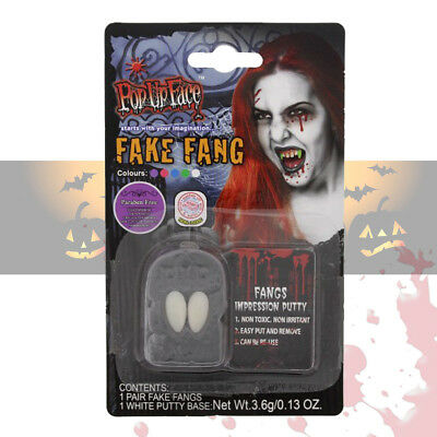 Halloween Dracula Vampire Fangs Fake Teeth Caps Fancy Dress Accessory With Putty