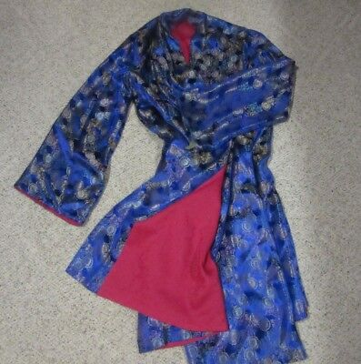 Womens 3X Plus size Thick Kimono Robe Blue w/Red liner- Lounge Jacket-used VGC