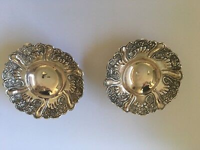 Pair Of Antique Sterling Silver Candy Dishes - Chased And Hallmarked