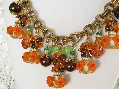Vintage Cluster Statement Necklace Crystal Glass Charm Autumn Path Haskell Chain