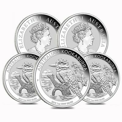 Lot of 5 - 2019 1 oz Silver Australian Kookaburra Perth Mint .999 Fine BU In Cap