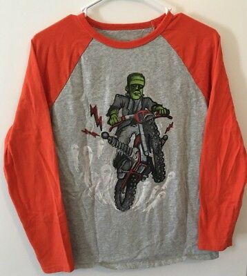 Gap Kids Boys Long Sleeve T Shirt Halloween  Frankenstein On Bike Size XXL 14-16