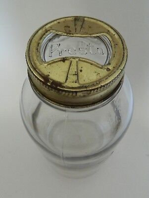 Presto Supreme Mason Half Gallon Glass Canning Jar Owens Illinois with Glass Cap