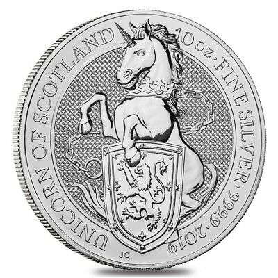 2019 Great Britain 10 oz Silver Queen's Beasts (Unicorn of Scotland) Coin .9999