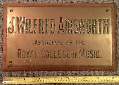 Rare Find Original Antique Brass & Oak Plaque Royal College Of Music C1880