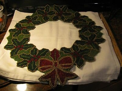 """Rare Christmas Beaded Holly & Berry Wreath Table Mat 16"""" D Red Berries & Ribbon"""