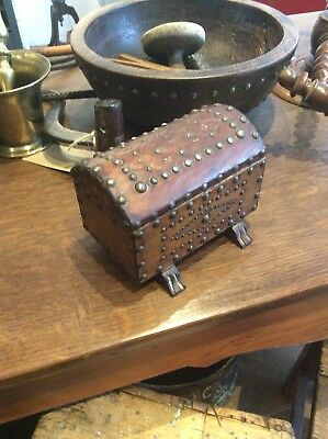 Small Antique Vintage Leather Studded Jewel Box Casket Jewellrey