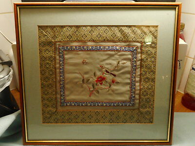 Vintage Framed Silk Chinese Rank Badge Embroidery
