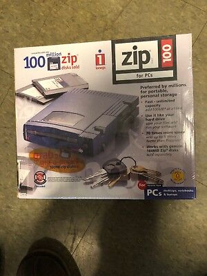 Vintage iomega Zip 100 External Drive for PC Parallel Port Back up 3 in One