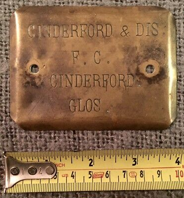 Rare Find Original Antique Brass Plaque Cinderford & Dis F,c. Glos